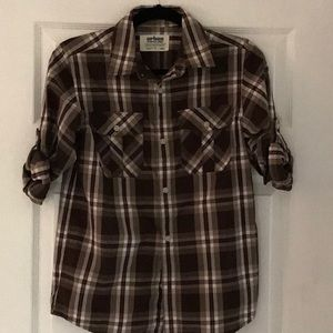 Boys long sleeve button down plaid shirt